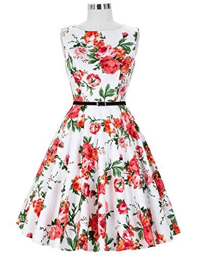 50er jahre vintage Rockabilly kleid partykleid blumen kleid Hepburn Stil Swing-kleid Größe S CL6086-39 - 7