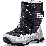 SAGUARO Niños Botas de Nieve Impermeable Bota de Invierno Zapatos Calientes,Negro,31 EU