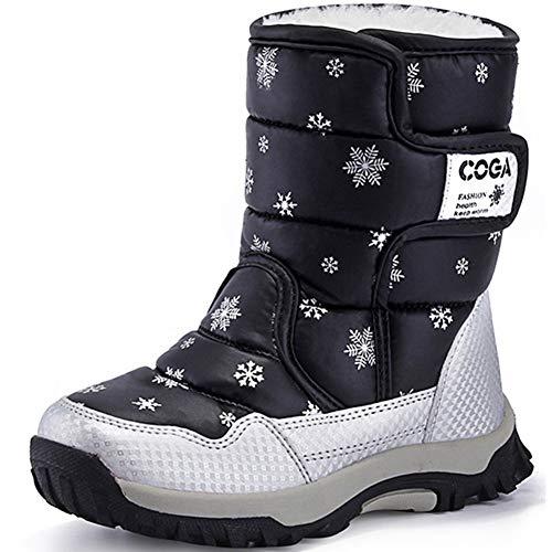 SAGUARO® Niños Botas de Nieve Impermeable Bota de Invierno Zapatos Calientes,Negro,34 EU