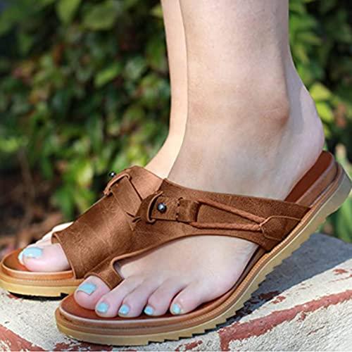 Deslizadores Casuales del juanete del Dedo del pie del Anillo del Cuero de la corrección ortopédica de Las Mujeres, Sandalias Casuales de la Playa del Verano