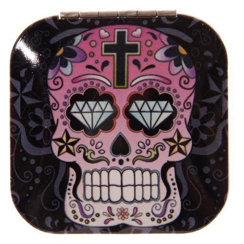 Lauren Billingham Day of the Dead Skull Compact Mirror (square with black background) by Lauren Billingham