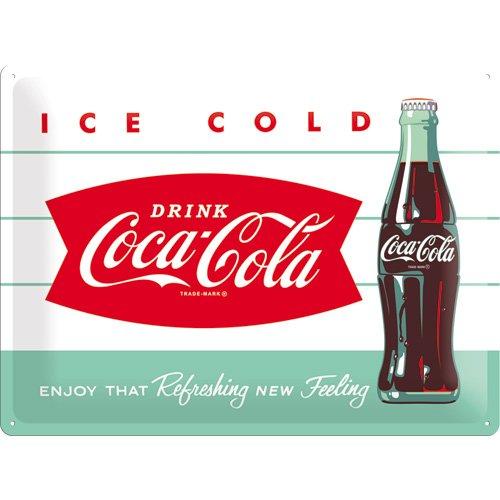 Nostalgic-Art 23191 Plaque en tôle Motif Bouteille et Logo Coca-Cola 30 x 40 cm