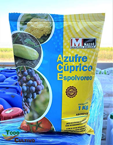Todo Cultivo Azufre Cúprico Azul para espolvoreo 1 Kg. Fungicida y acaricida ecológico en Polvo. Muy eficaz en prevención de Mildiu, oídios o acariosis en Huerta o parrales.