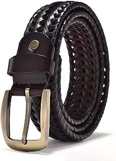 longhua Cinturón Tejido a Mano Cinturón Cuero Genuino Hombre Retro Pin Buck