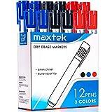 Maxtek Whiteboard Marker Stifte trocken abwischbare Stifte, 12-teilige mit 3 Farben Kugelspitze 2-3 mm Linienbreite Geruchsarme Tinte, Zubehör für Schule, Büro, Zuhause