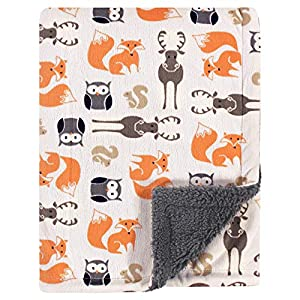 crib bedding and baby bedding hudson baby unisex baby plush blanket with sherpa back, boy forest, one size, 30x40 inch (baby)