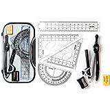 Conjunto de geometría matemática Conjunto de brújulas de herramientas de dibujo estudiantil multifuncional,kit de geometría matemáticas de 8 piezas Soluciones de estudiantes para estudiantes e ingenie