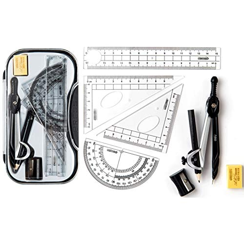 Conjunto de brújula Conjunto de brújulas de herramientas de dibujo estudiantil multifuncional, kit de geometría matemáticas de 8 piezas Soluciones de estudiantes para estudiantes e ingeniería Dibujos