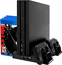 Redlemon Base Vertical y Ventilador para PlayStation 4 (Compatible con Regular, Pro y Slim), con Estación de Carga Dual pa...