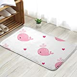 X-Large Cute Cartoon Pink Whales Baby Abstract Doormat Entrance Mat Floor Mat Rug Indoor/Outdoor/Front Door/Bathroom Mats Rubber Non Slip 31.5 X 19.5 Inch