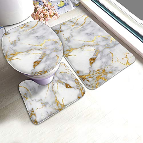 Bath Mat Set Best Gold Marble Ideas Metallic Blue Bath Rugs Bathroom Rugs 3 Piece Set,U-Shaped Contour Rug,Mat and Lid Cover