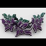 minghui - Hebilla para placa de Cheongsam hecha a mano con botón de cola larga, diseño de margarita nocturna, hebilla de flores vintage buckle about 15CM Sapphire