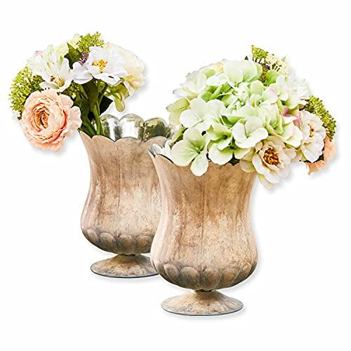 Loberon Vase 2er Set Wilgard, Glas, Kupfer