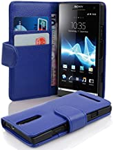 Cadorabo Case Works with Sony Xperia S (Design Book Structure) - with 2 Card Slots - Wallet Case Etui Cover Pouch PU Leather Flip NAVY-BLUE DE-100195