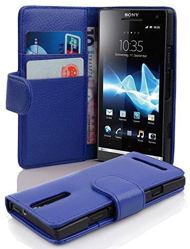 Cadorabo Custodia Libro per Sony Xperia S in Blu Marina - con Vani di Carte e Funzione Stand di Similpelle Strutturata - Portafoglio Cover Case Wallet Book Etui Protezione