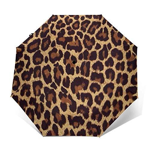 N/A Paraguas Plegable portátil y Ligero para Viaje con Pegamento Negro y Revestimiento Anti UV, Paraguas de Golf con Estampado de Leopardo, Resistente al Agua