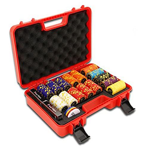 Maletín de Poker Profesional, Ultimate Pokerset, 300 Fichas(13 Estilos de Chips) 2 Barajas de Naipes 100% de Plástico, 5 Dados, 4 Botones, Maleta (Rojo)