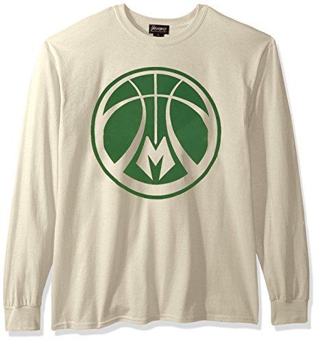 Camiseta de manga larga para mujer de la NBA, coderas con estampado en relieve, de todos los equipos - AEP14WA, Milwaukee Bucks, XXL, Crema