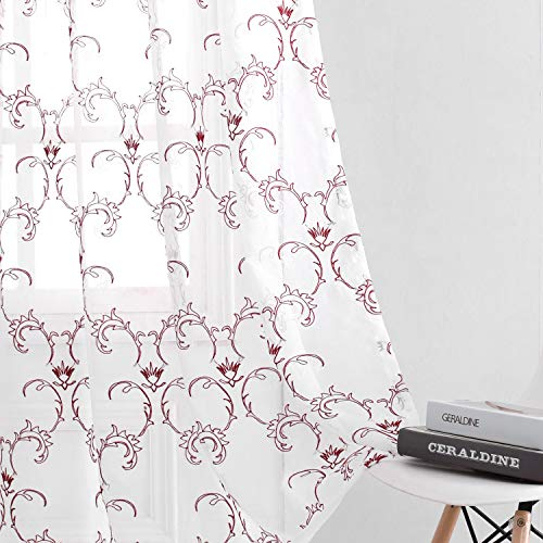 VISIONTEX White Sheer Voile Curtains Panels, Embroidered with Burgundy Moroccan Floral Rod Pocket, Window Treatment Long Drapes for Bedroom, Kitchen, and Living Room, Set of 2, 54 x 95 inch