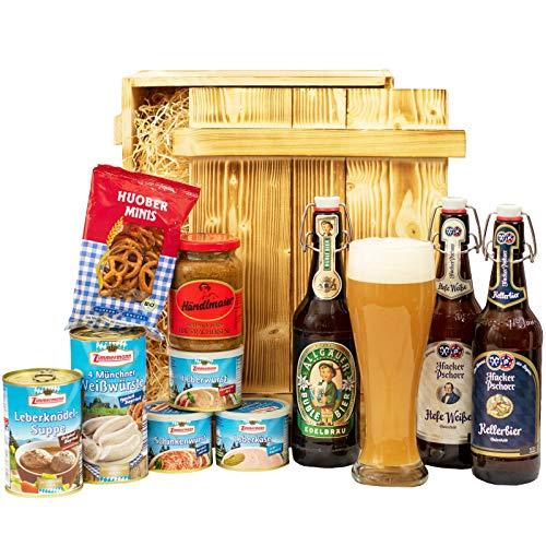 Geschenkset München | Großer Bayern Geschenkkorb mit Bier, Bierglas & bayrischen Spezialitäten | Bayerisches Geschenk Set gefüllt für Frauen & Männer | Typisch deutscher Wurst Präsentkorb