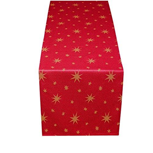 MODERNO Lurex Sterne Tischläufer 40x170 cm Rot Gold, Weihnachtstischläufer Größe und Farbe wählbar (Gold, Silber oder Rot glänzend)