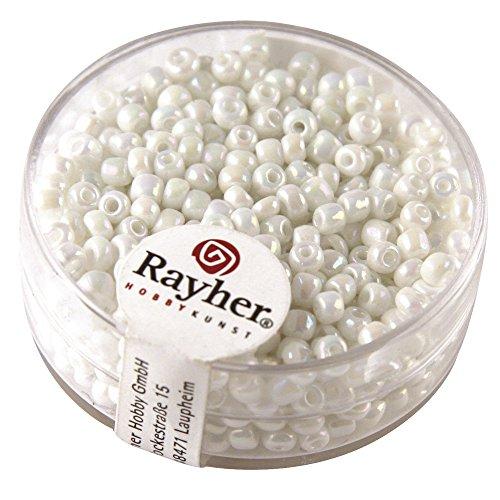 Rayher 1405902 Rocailles, 2,6 mm ø, opak gelüstert, weiß