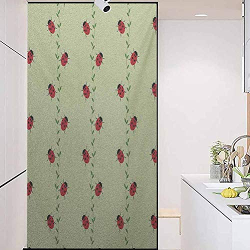 Privacy Home Decor Decorative Stained Glass Window Film, Ladybugs Pattern with Insects Symmetrical Background Li, Home Bathroom Toilet Decorative, W35.4xH78.7 Inch
