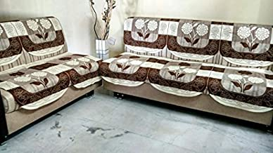 Griiham's Polycotton Slip Resistant 5 Seater Sofa Cover Contemporary Prints -10 Uncut Pieces Ideal for Any Sofa (Brown and Cream)