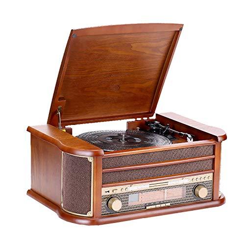 QuRRong Giradischi Legno Retro Phonograph Vinyl Record Player Vintage Radio Antique Record Player Leader Leader per Hotel Club Bar (Colore : Marrone, Size : 51x35x21cm)