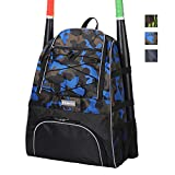 Outdoors Baseball Backpack Bags, KGMCARE Baseball Bat Bag for Youth and Adults - Softball, Teeball, Baseball Bat & Equipment Bag with Water Pocket, Fencen Hoolsks, Holds Bat, Helmet, Glove and Shoes (Blue Camo)