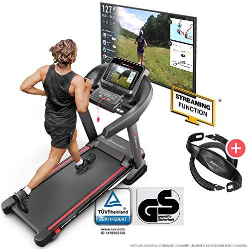 Sportstech Tapis De Course Electrique Pliable F37 Professionnel Jusqu'À 20 Km/H, Système D'Autolubrification, Compatible Avec App, Inclinaison 15%, Bluetooth USB, MP3