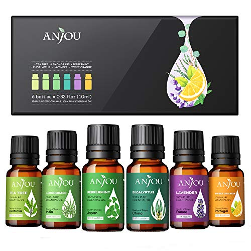 Essential Oils Set  Anjou Aromatherapy Essential Oil Top 6 10ml Pure amp Therapeutic Grade for Diffuser Massage Yoga Auto Office