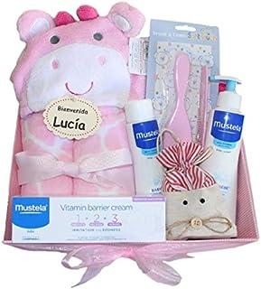 Cesta Bebé Mustela Rosa - canastilla Mustela - regalo bebé Mustela: gel de baño + crema bálsamo + loción + set peine y cepillo+ capa-arrullo