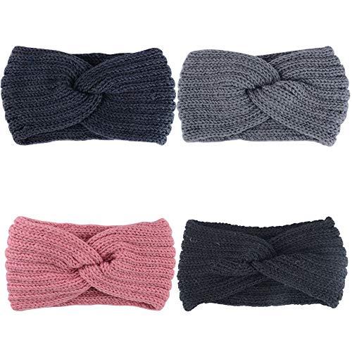 JNCH 4 Stk / 4 Farben Stirnbänder Damen Headband Mädchen Kopfband Frauen Kopfbänder Stirnband Winter Herbst Frühling Haarbänder Haarband Wolle Haarreife...