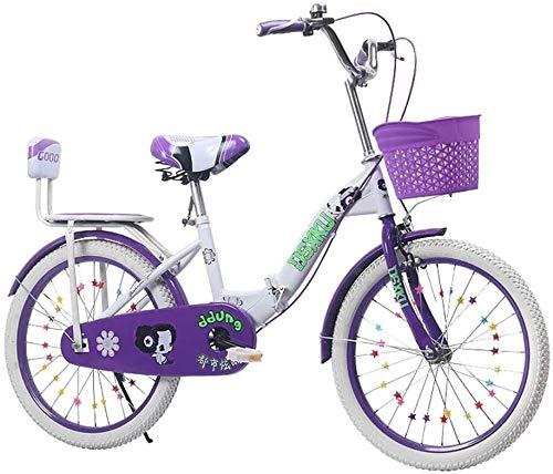 Xiaoyue Kinderfahrräder Falträder Rosa Fahrrad Lila Fahrrad Schulkind Fahrrad Haushalt Fahrrad 3~15 Jahre alt Übungs-Fahrrad (Farbe: Rosa, Größe: 20inch) lalay (Color : Purple, Size : 20inch)