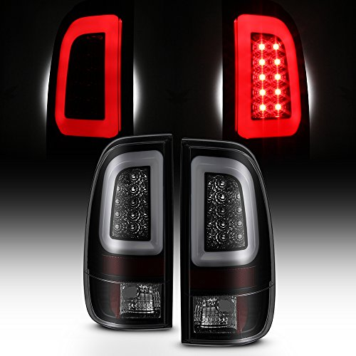 [LED Tube] For Black Smoked 1997-2003 F150 | 1999-2007 F250 F350 F450 F550 SuperDuty Tail Lights Brake Lamps Pair