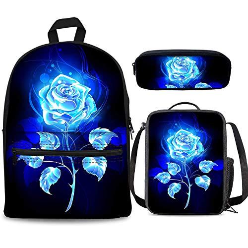 Set di 3 zainetti a forma di rosa blu da 17 pollici + borsa per il pranzo scatola portapenne per ragazzi e ragazze di 1-6° grado bambini torna a scuola