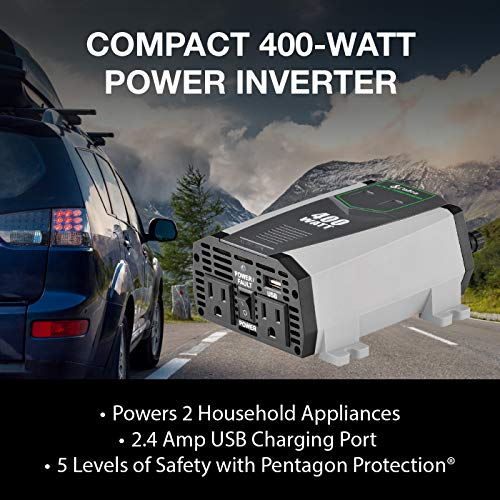 Cobra CPI490 Portable Power Inverter - 400 Watt Car Charger, 2 Grounded AC Outlets, 12 Volt 2.4 Amp USB Port, Survival Gear, Camping Accessories, Travel Essentials