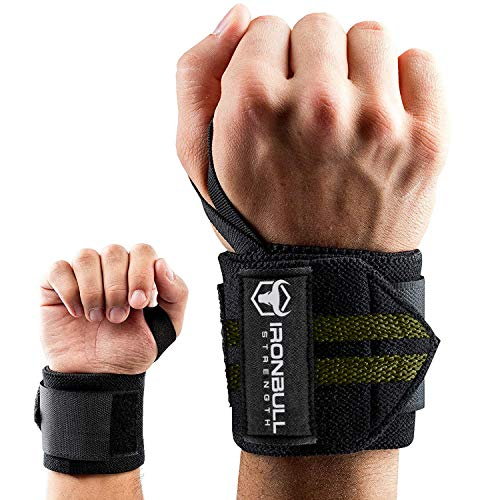 Wrist Wraps (18' Premium Quality) for Powerlifting, Bodybuilding, Weight Lifting - Wrist Support Braces for Weight Strength Training (Black/Green)