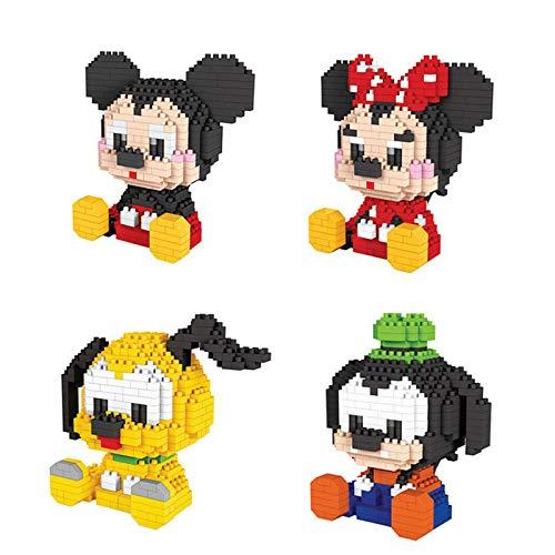 BAIDEFENG Nano Micro Bloques De Construcción para Niños Modelos De Mickey Mouse De Dibujos Animados Ladrillos Rompecabezas 3D Mini Juguetes Educativos De Bricolaje Bloques Interesantes (4 Piezas)