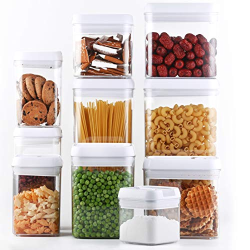 DRAGONN 10 Piece Airtight Food Storage Container Set with Labels, Pantry Organization and Storage, Keeps Food Fresh, Big Sizes Included, Durable, BPA Free Containers