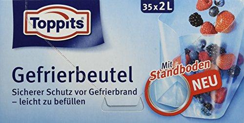 Toppits Gefrierbeutel, 2 Liter, Standboden, 35 Stück, Transparent