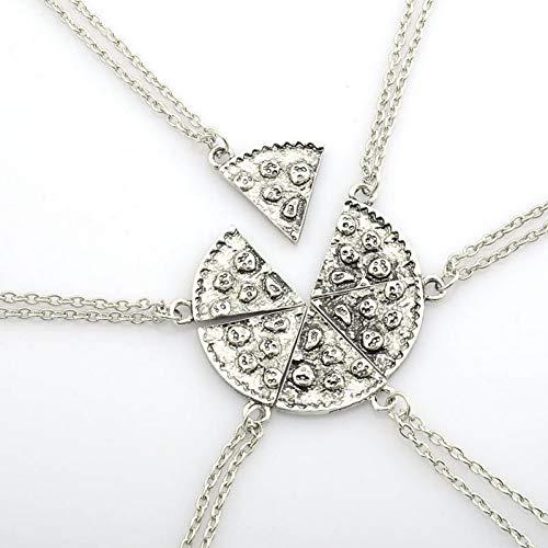 Burenqi 6 unids/Set Collares Pendientes de la Pizza Collar de la Amistad Mejores Amigos de Plata Antigua Estampados Hechos a Mano Collares,A
