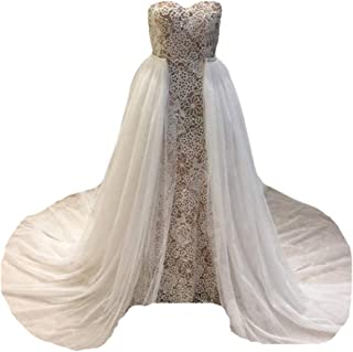Simlehouse White 3 Layers Tule Detachable Train for Wedding Dress Party Overskirts Hand Made