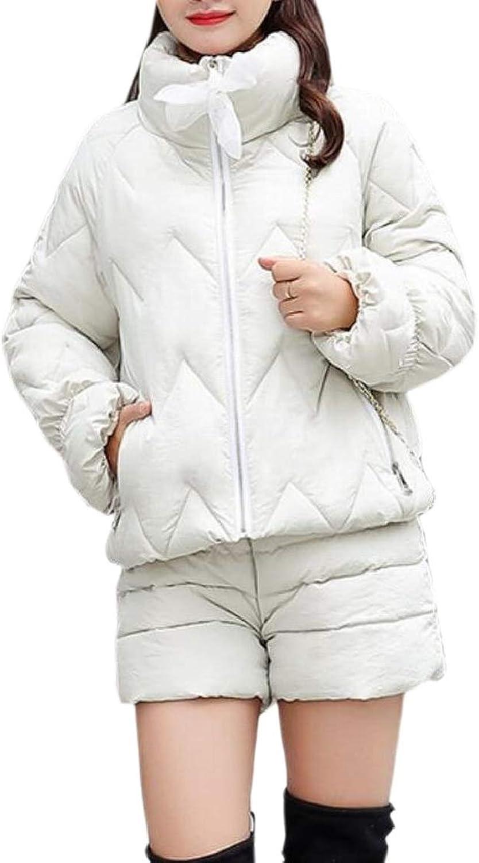 QDCACA Women Winter Hood Fur Collar Outerwear Slim Fit Solid Snowsuit