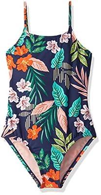 Hobie Girls' Big One Piece Swimsuit, Navy//Hibiscus Jungle, 8