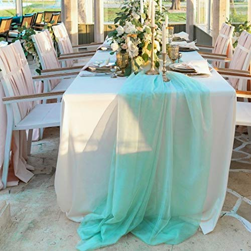BIT.FLY 197 x 53 Inch Sheer Scarf Organza Table Runner for Wedding Arch Valance Table Swags Event Party Reception Backdrop Decoration (Mini Green, 1 Pack)
