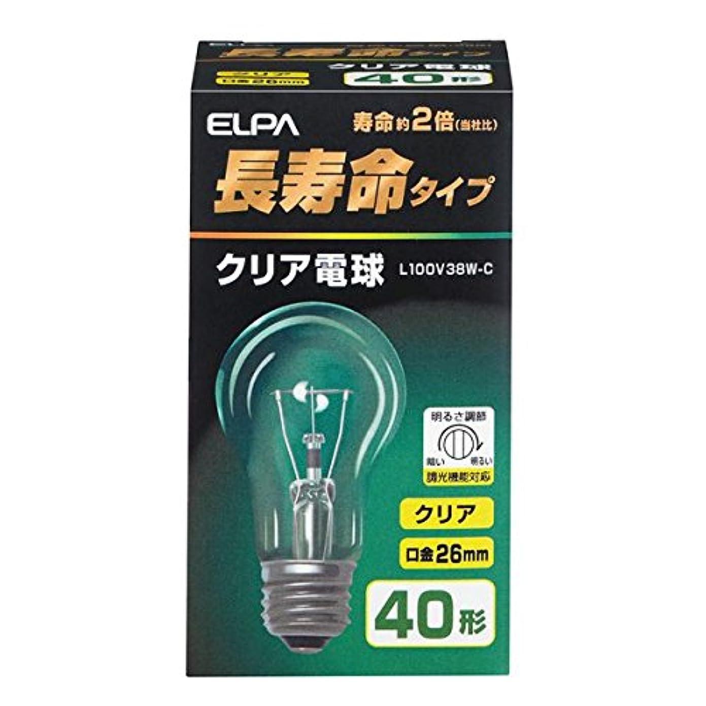 バルセロナ排気秘密の朝日電器 (業務用セット) ELPA 長寿命クリア電球 40W形 E26 L100V38W-C (×35セット)
