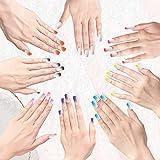 192 pezzi di pressa quadrata sulle unghie per unghie false medie unghie finte, stampa colorata sulle unghie finte e corta, copertura completa in acrilico (gradiente di colore)