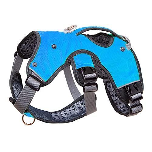 Chaleco de entrenamiento para perros grandes cinturones de seguridad para perros medianos y grandes ajustables al aire libre protección cinturón de seguridad collares marionetas S azul
